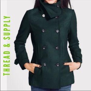 Thread & Supply Hunter Green Wool Blend Peacoat